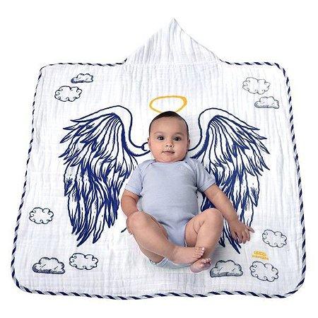 Toalha de banho Minasrey Anjinho felpa - azul