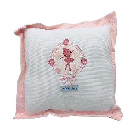 Travesseiro Minasrey Muito Mimo bordado - bailarina rosa