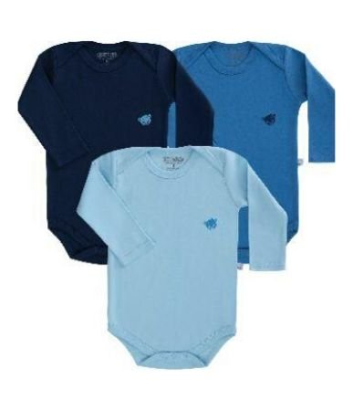 Kit body Pimpolho manga longa 3 peças - azul