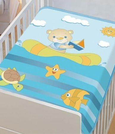 Cobertor Jolitex infantil tradicional - barquinho azul