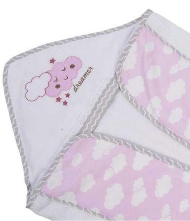 Toalha de banho Minasrey Alvinha com forro fralda - rosa