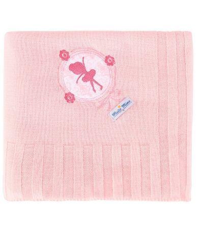 Manta Minasrey tricot Muito Mimo com bordado - bailarina rosa