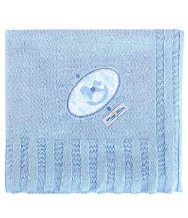 Manta Minasrey tricot Muito Mimo com bordado - cavalinho azul