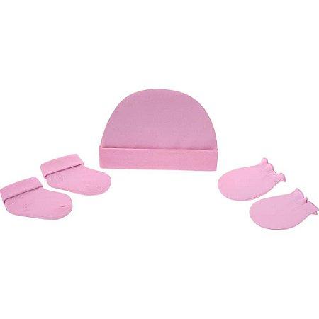 Kit gorro luva e meia Pimpolho de 0 a 3 meses - rosa