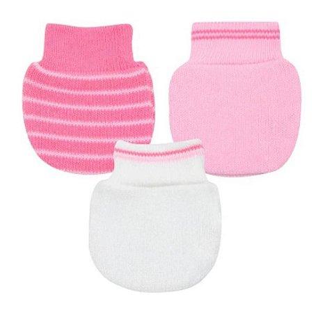 Kit Luvas Pimpolho com 3 pares recém nascido - rosa