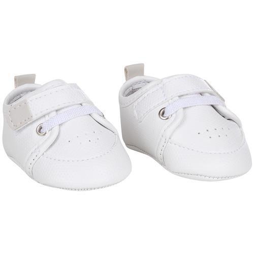 Sapato infantil Din Don masculino velcro e elástico - branco