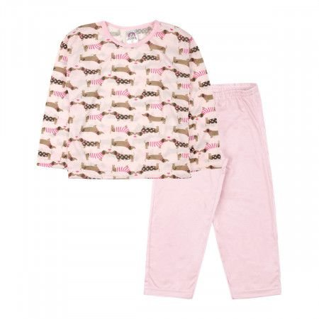 Pijama Jucatel infantil - dogs  love rosa