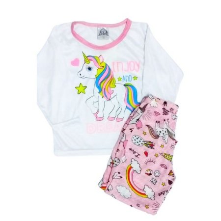 Pijama Jucatel infantil - unicórnio rosa