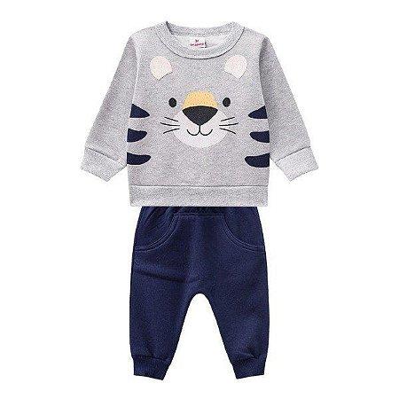 Conjunto Brandili Moletom masculino tigre - cinza e azul