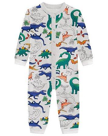 Pijama Macacão Brandili Moletom - Dino cinza