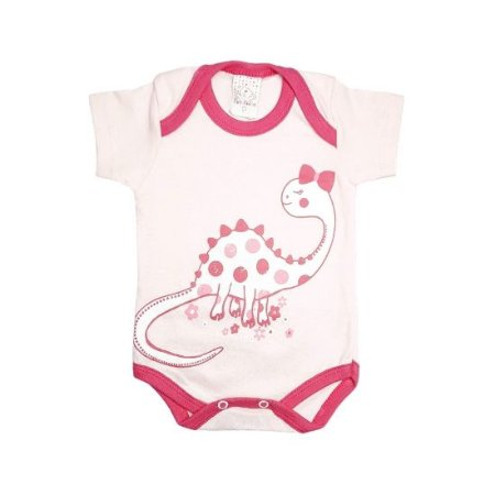 Body Petutinha manga curta - dino rosa