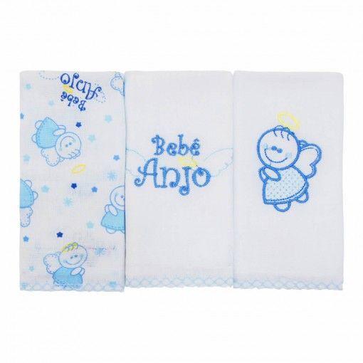 Kit Babete Minasrey Bebê Anjo - azul