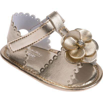 Sandália infantil Pimpolho com florzinha - dourada