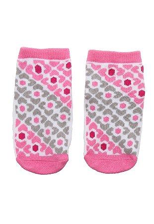 Meia Pimpolho com solado antiderrapante - estampada rosa