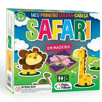 Quebra Cabeça Pais e Filhos em madeira - safari