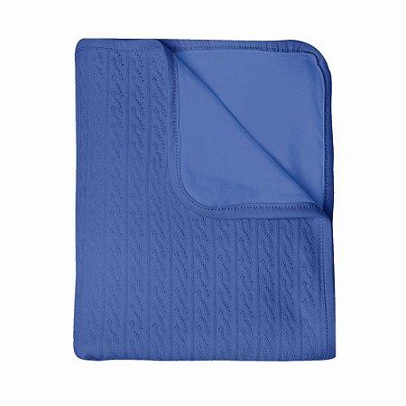 Manta Papi tricot com forro Mami - azul