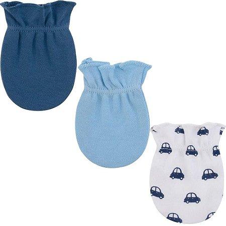 Kit Luvas Pimpolho 3 pares recém nascido masculino - azul
