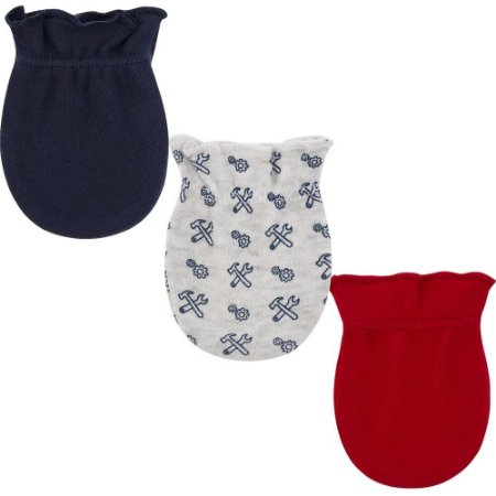 Kit Luvas Pimpolho 3 pares recém nascido masculino - cinza vermelho e azul