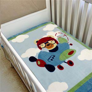 Cobertor infantil Corttex Raschel masculino - ursinho aviador