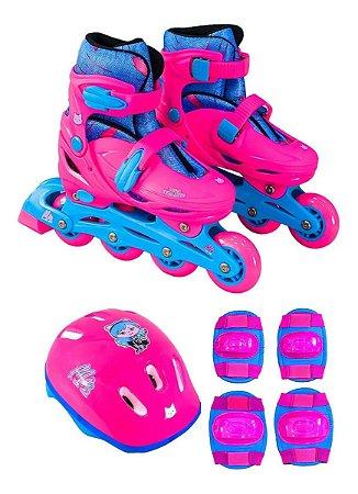 Kit Patins Unik Toys Mia ajustável feminino - rosa