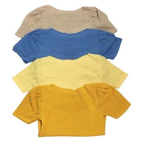 Blusa Michele Modas Manga Furinho tricot - cores variadas