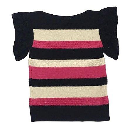Blusa Michele Modas Manga Babado tricot - Preta com listras