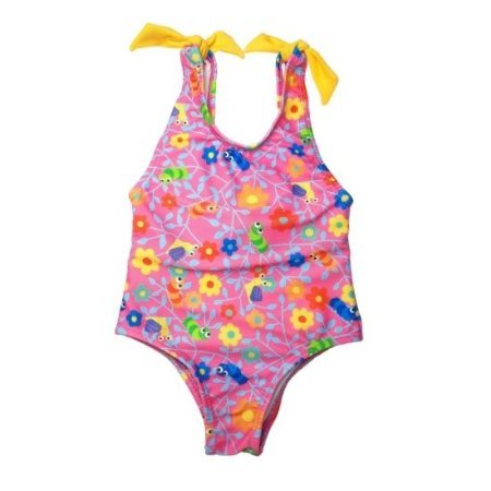 Maiô infantil Azul do Mar com laço - estampado