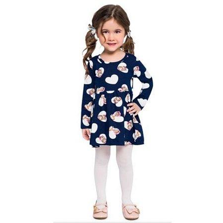Vestido Malha Manga Longa Infantil Brandili