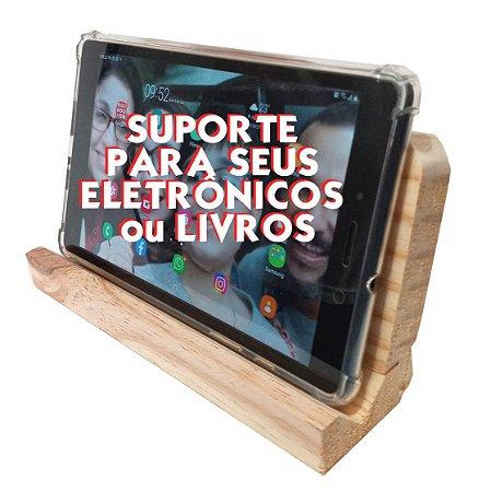 Apoio Suporte Em Madeira Natural para Smartphone Tablet E-books Livros Cadernos