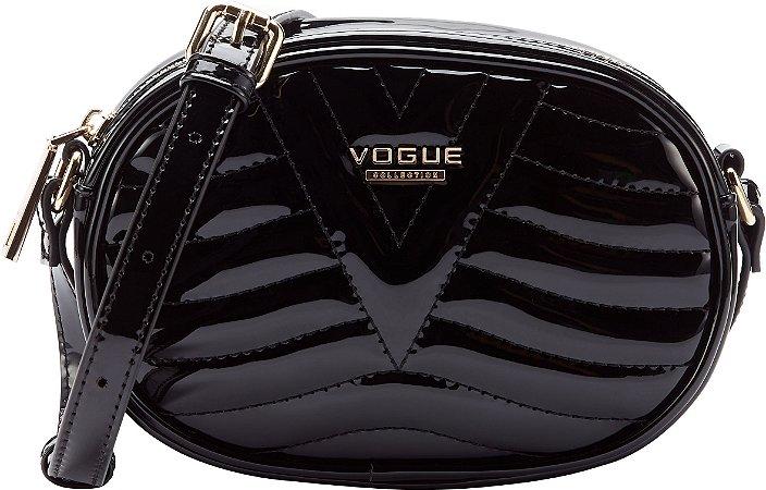 Bolsa Vogue Tiracolo Oval Verniz - Black