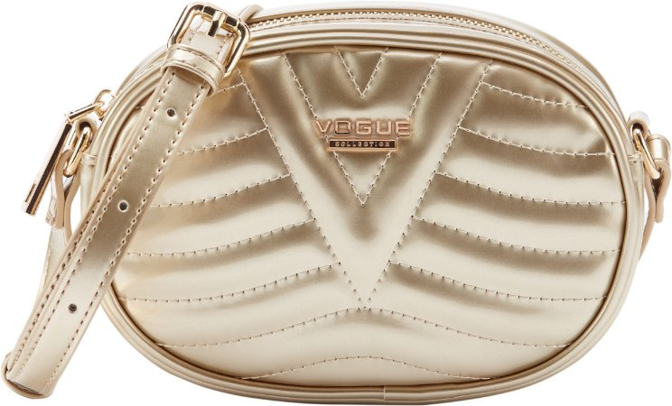 Bolsa Vogue Tiracolo Oval Verniz - Gold