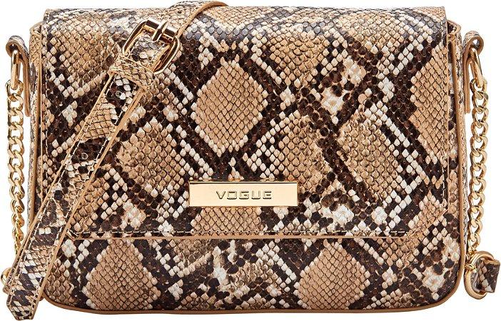 Bolsa Vogue Tiracolo Encaixe - Bege Snake