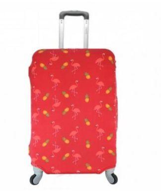 Capa Para Mala De Viagem Yins Vermelha Flamingo Com Abacaxi YS27075