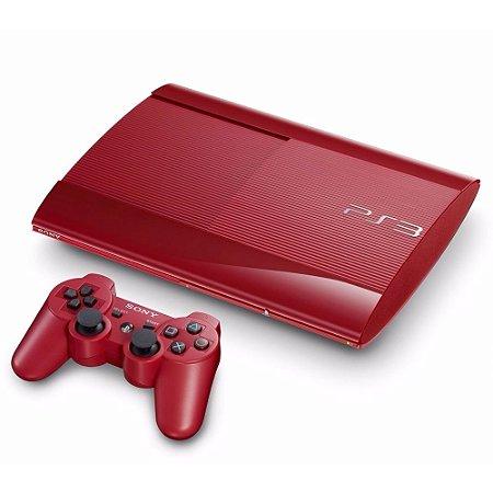Console PlayStation 3 Super Slim Vermelho 500GB + 2 Jogos de Brinde - Sony