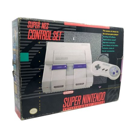 Console Super Nintendo Completo na Caixa - SNES