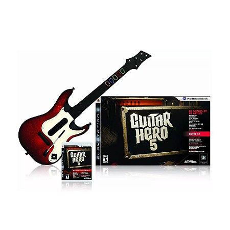 Jogo Guitar Hero 5 + Guitarra - PS3