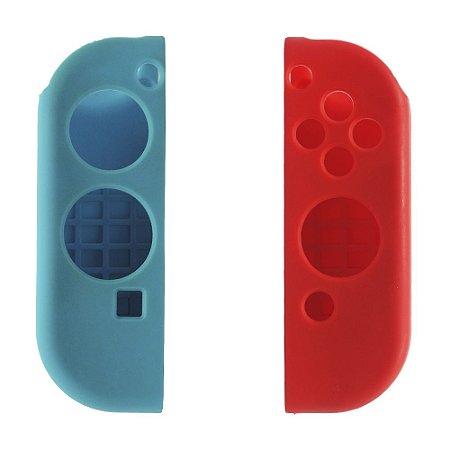 Capa de Silicone Azul e Vermelha para Joy-Con - Nintendo Switch