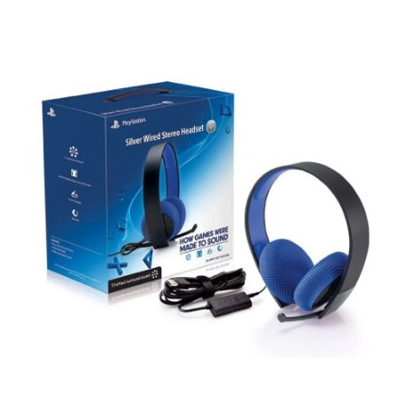 Headset Sony Silver Wired Stereo com fio - PS3, PS4, PS Vita
