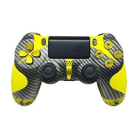 Controle Sony Dualshock 4 Carbon Yellow sem fio - PS4 (Personalizado)