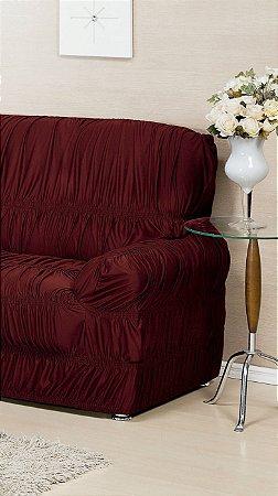 Capa Protetora Para Sofá De 02 Lugares Avulsa Malha Gel Com 21 Elásticos Vinho