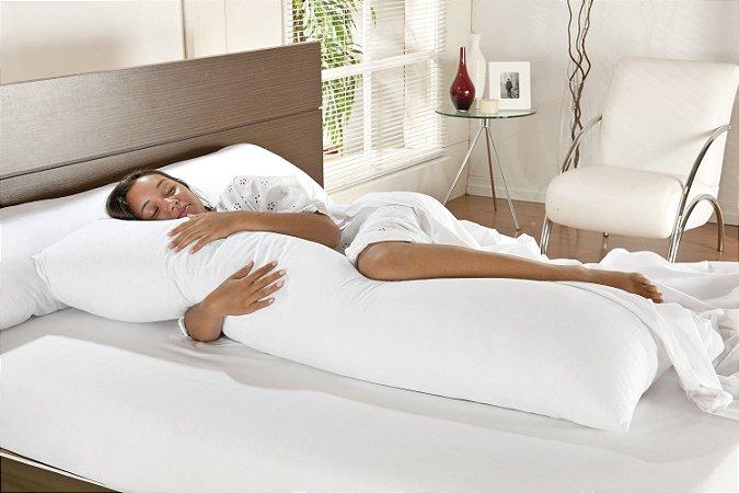 Fronha 100% Algodão Percal 150 Fios 90CM x 50CM com Zíper Branca para Travesseiro De Corpo Mega Xuxão