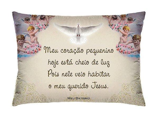 Almofada Retangular 35cm x 26cm + Capa Com Estampa De Oração Ref.: T05