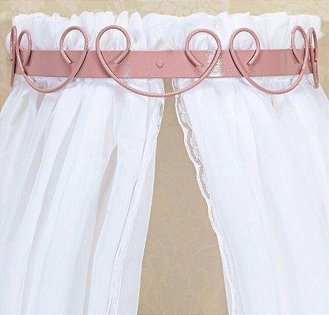 Dossel Largo De Parede Arabesco Rosa Para Quarto De Bebê + Véu Mosquiteiro Tecido Tule