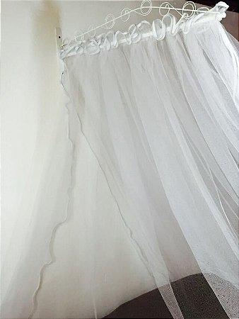 Dossel 85cm X 20cm Reto Arabesco Branco Para Cama De Solteiro - Casal - Queen - King + Véu Mosquiteiro Tule