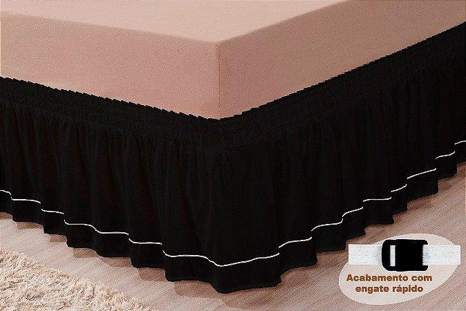 Saia Para Cama Box Queen Size Pratic Com Detalhe Sutache