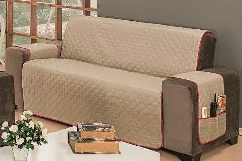 Protetor Para Sofá De 03 Lugares Impermeável Matelado Microfibra Dupla Face Cáqui Com Vermelho