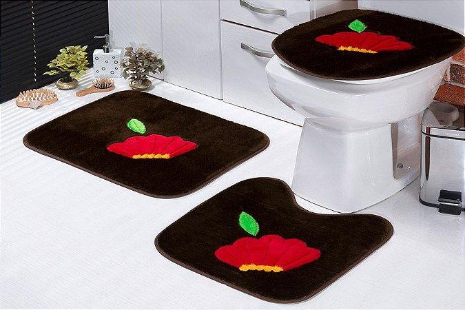 Jogo de Banheiro Padrão em Pelúcia Flor 3 PEÇAS Tecido Superior: 100% Acrílico Base: 100% Poliéster Emborrachado: 100% E.V.A
