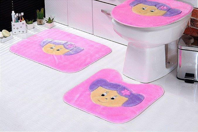 Jogo de Banheiro Padrão em Pelúcia Menina 3 PEÇAS Tecido Superior: 100% Acrílico Base: 100% Poliéster Emborrachado: 100% E.V.A