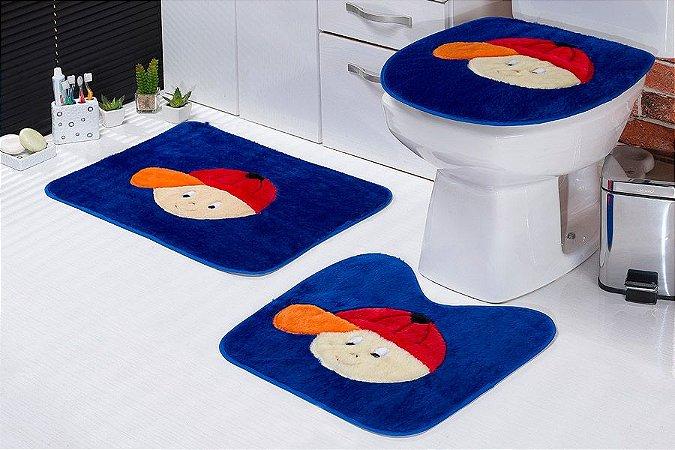 Jogo de Banheiro Padrão em Pelúcia Menino 3 PEÇAS Tecido Superior: 100% Acrílico Base: 100% Poliéster Emborrachado: 100% E.V.A