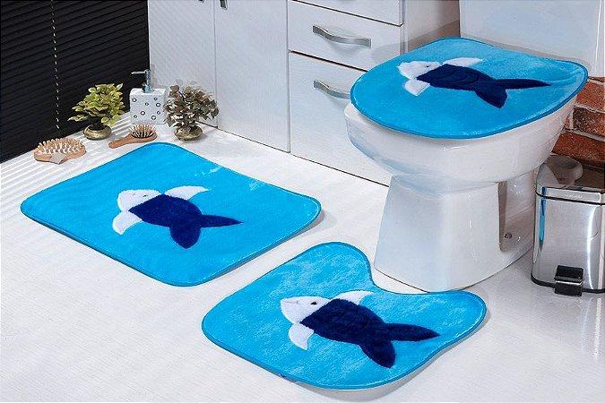 Jogo de Banheiro Padrão em Pelúcia Peixe 3 PEÇAS Tecido Superior: 100% Acrílico Base: 100% Poliéster Emborrachado: 100% E.V.A